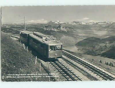 old rppc TRAIN ON TRACKS Rigi-Kulm - Schwyz - Lauerz Steinen Switzerland HM1821
