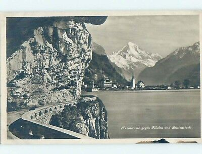 old rppc ROAD AND BUILDINGS ALONG SHORELINE Fluelen - Uri Switzerland HM1806