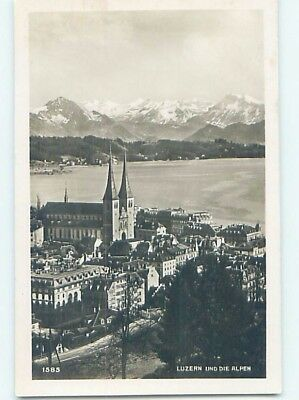 old rppc AERIAL VIEW OF TOWN Lucerne - Luzern Switzerland HM1510