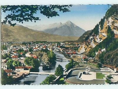 old rppc AERIAL VIEW OF TOWN Interlaken Switzerland HM1892