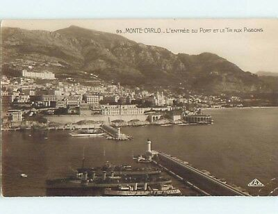old rppc BOATS AND PANORAMIC VIEW OF TOWN Monte Carlo - Monaco France HM2002