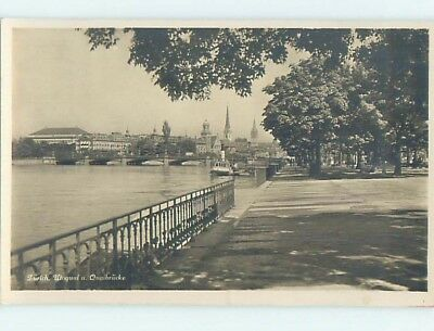 old rppc WALKWAY ALONG SHORELINE Zurich Switzerland HM1988