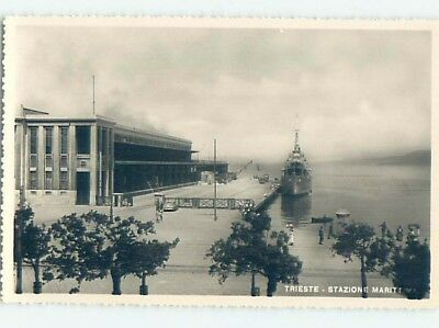 old rppc SHIP BOAT AT DOCK Trieste Italy HM2311