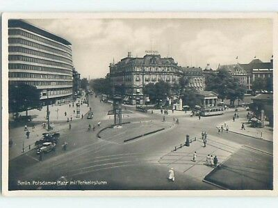 old rppc STREETCAR AND SHOPS ALONG STREET Berlin Germany HM2106