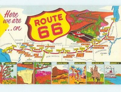 1967 postcard ROUTE 66 SIGN AND ATTRACTIONS hn5105