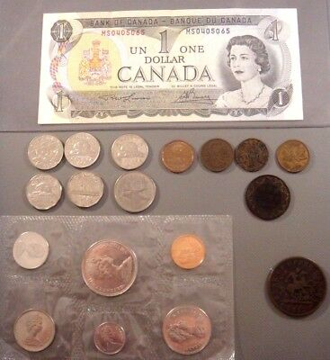 Canada coin & currency lot (Coins 1921 thru 1968) 1852 Bank Token 1973 banknote