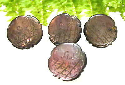 Pretty Set Of 4 Victorian Etched Baroque Style Pearl Buttons T22