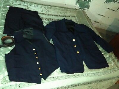 Vintage Long Island Railroad Train Conductor Uniform Coat Pants Vest Belt LIRR