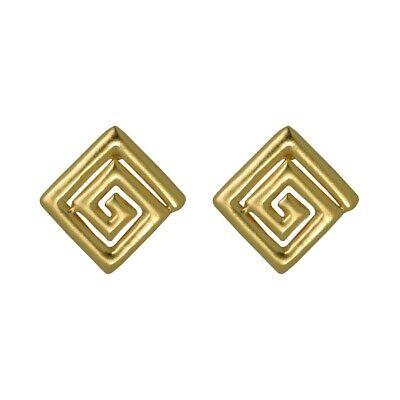 ACROSS THE PUDDLE 24k Gold Plated Pre-Columbian Square Long Life Drop Earrings