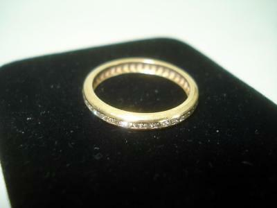 Vintage 14K Yellow Gold & 39 Diamonds Eternity Wedding Band Ring Size 6.5