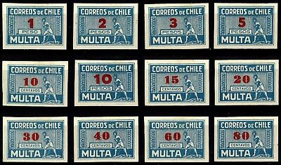 Chile, Postage Due, Complete Set, Very Rare, Mint Very Lightly Hinged