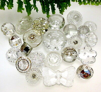Sparkly Lot Of Vintage Clear Glass Buttons With Different Designs & Butterfly