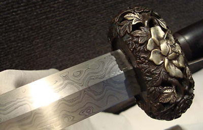 "Excellent  ""Qing Peony Jian"" Folded Pattern Steel Blade Sharp Beautiful Sword"