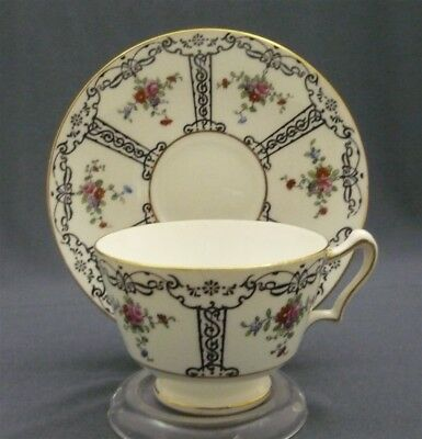 Crown Staffordshire English Bone China Black H Paint Pink Rose Tea Cup & Saucer