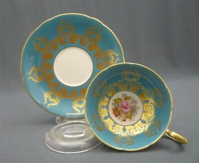 Aynsley Pedestal Blue Signed BAILEY Hand Painted PINK ROSE Tea Cup & Saucer Duo