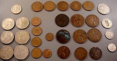 UK Great Britain World coin lot New Pence + 1800's-1900's Large Pennys 1/2 Penny