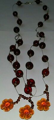 Vintage 1960s rare long GLASS beaded & glass flower necklace. Costume jewellery