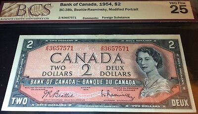 1954 Canadian Two 2 dollar bill note graded non Devils Face