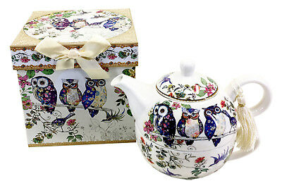 Owl Tea for One Teapot & Cup ,Fine China Beautifully Boxed