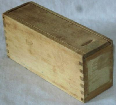 *Old WOODEN Oblong BOX*Sliding*Slide TOP*Finger Jointed*WOOD Tool HOLDER Chest*