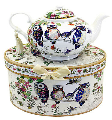 Owl Teapot ,Fine China Beautifully Boxed, Owls-Branch/Flowers