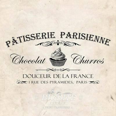 WATER DECAL: French Patisserie Parisienne Advert Furniture Print Transfer #077