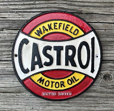 CASTROL Wakefield Motor Oil, Glasgow 1968, Cast Iron Circular Sign