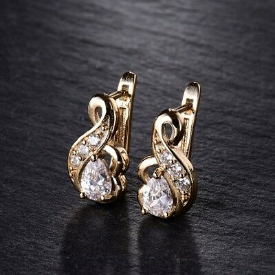 Promise Quality 18k Gold Filled Sapphire Crystal Fashion Women Hoop Earrings