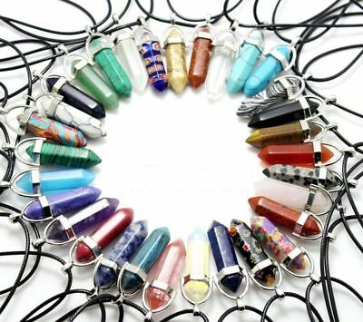 Natural Quartz Crystal Stone Point Chakra Healing Gemstone Pendants Necklace HOT