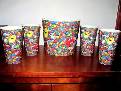 MARS M&M's CANDY/POPCORN BUCKET WITH MATCHING TUMBLERS~SET OF 5~NEW