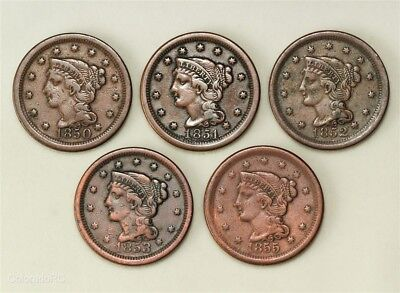 Lot of Five U.S. Mint Braided Hair Large Cents in Varying Grades
