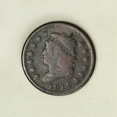 1814 U.S. Mint Classic Head Large Cent, Plain 4, in G+ Condition