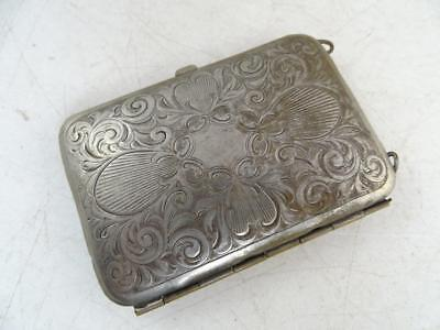 Antique Silver Coin Purse Make-Up Compact Case Calling Card Vintage 1900s Old