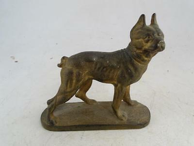 Antique Boston Terrier Dog Cast Iron Miniature Doorstop Statue Figurine Vintage