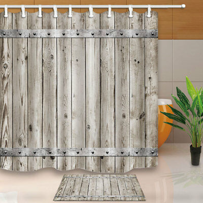 Old Vintage Wooden Texture With Metal Bathroom Fabric Shower Curtain Set 71Inch