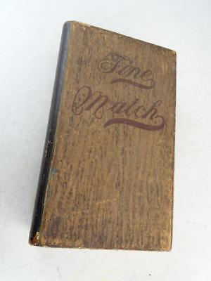 Antique Wood Advertising Cigar Box Fine Match Fake Book Wisconsin Vintage Old