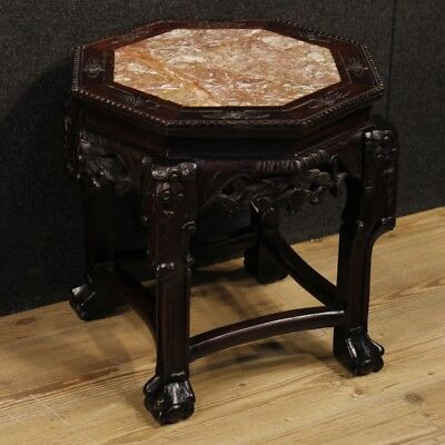 Side table Chinese furniture living room in wood marble top antique style 900