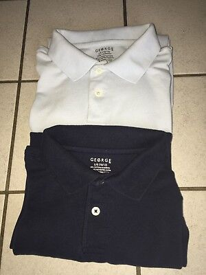2 George boys Long Sleeve Polo Shirt, size L10/12 navy blue and baby blue