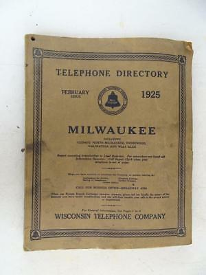 Antique Milwaukee WI Wisconsin Telephone Directory 1925 Advertising Book History