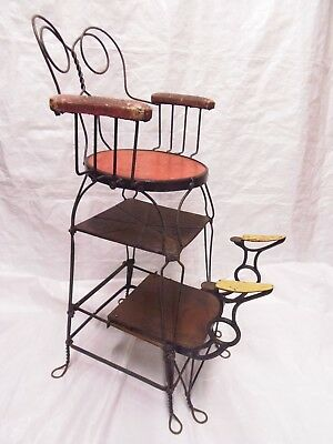 """Rare Antique Shoe Shine Chair by """"Chicago Wire Chair Company"""" Original & Signed"""