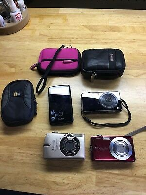 Canon Power Shot 7.1 SD550Samsung ST700 Kodak Zi10 Casio E-S10 Cameras Lot of 4