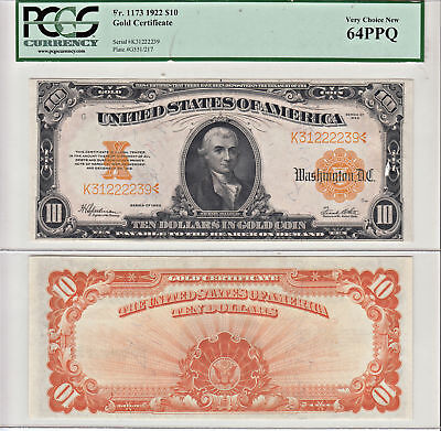 1922 $10 Gold Certificate Note F-1173 PCGS Very Choice New-64 PPQ