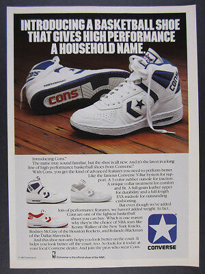 1987 Converse CONS Basketball Shoes 'Introducing' vintage print Ad