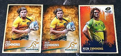 3 x Nick Cummins Rugby Trading Cards Honey Badger Wallabies 2016 Gold Inserts