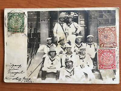 Rare 1908 China Chinese Imperial Post German Sailors Postcard