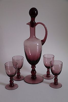 Vintage Purple Etched Glass Decanter Set Wth 4 Small Glasses