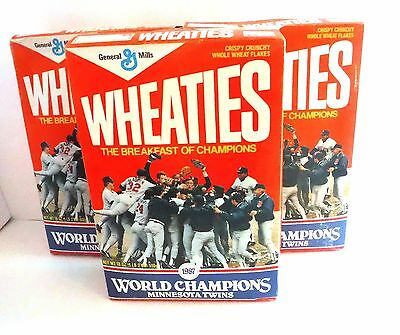 UNOPENED 1987 Minnesota TWINS World Champions WHEATIES CEREAL BOXES