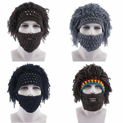 New Beard Wig Hat Hobo Handmade Knit Warm Winter Cap Men Women Funny Mask Hat