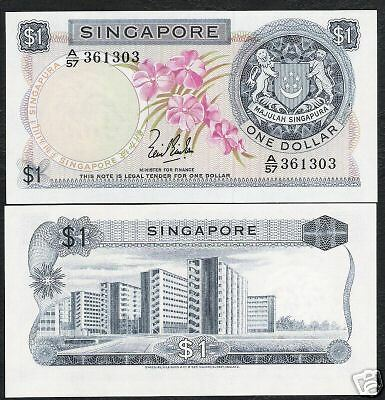 Singapore $1 P1 1967 Lion Orchid Major Error Red Color Missing Rare Note