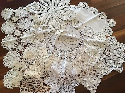 Lot of 8 Vintage White, Cream Hand Crochet Doilies Table Centres Craft or Use